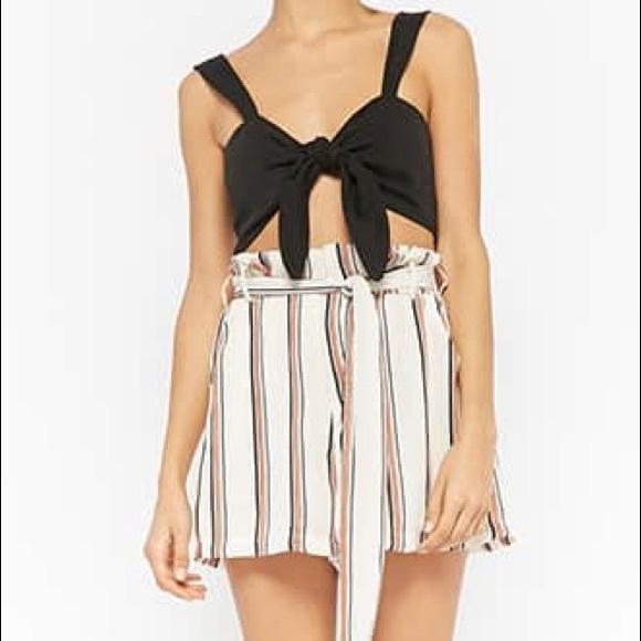 Lush Pants - Lush Paperbag Waist Tie Pleated Shorts